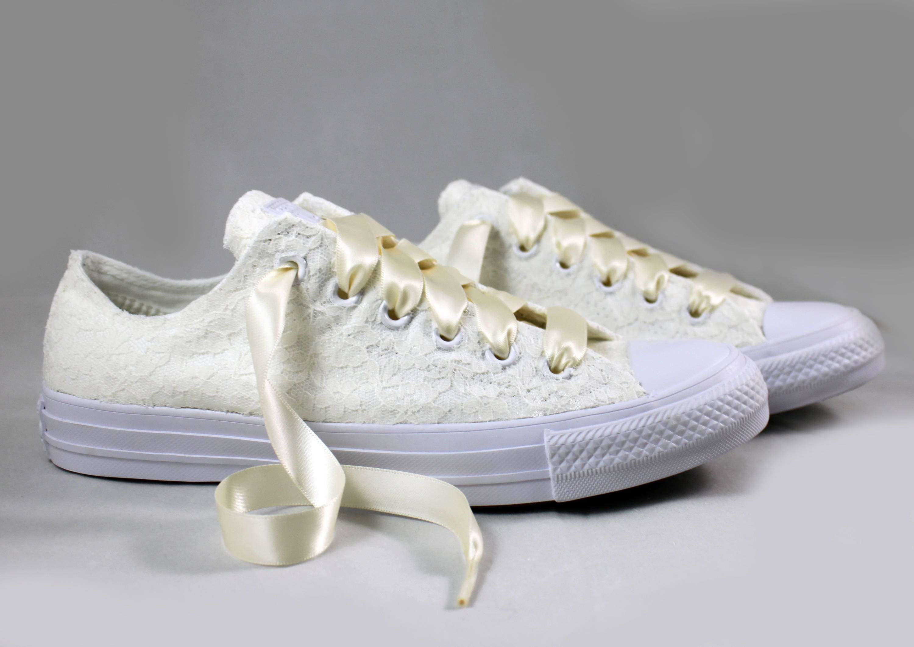 wedding tennis shoes custom eggnog lace monochrome bridal converses for 1194