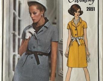 Pattern Sale Ends 3/21 Vintage Vogue Paris Original Givenchy 2051, One Piece Dress with Front Buttons, 1960's, Bust 34