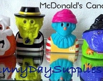 McDonald's Candy Dispensers, Entire Set of 6, McDonalds Haunted Halloween, Happy Meal Toy, Fischer Price, 1990's, Food Toy, Gifts for Kids