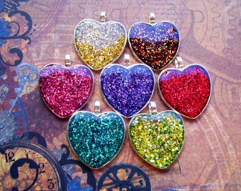Sparkle Jelly Color Heart Pendants (L32) Jewelry and Craft Supply, Lot of 7, Silver Heart Shaped Tray, Holographic Glitter Lacquer Base