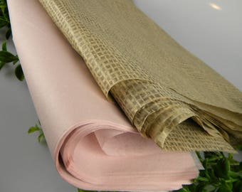 """Dusty Blush and Burlap Print Tissue Paper Sheets - Rustic Wedding Gift Wrapping Paper  20"""" x 30 """" sheets - Dusty Blush & Burlap Rustic Print"""