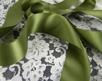 """Satin Ribbon Olive Green  1.5"""" Wide Double Face Satin - DIY Luxury Gift Wrap -  DIY Hair Bow and Pew Bow Supplies - 5 Yards"""