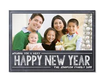 Chalkboard New Year Photo Card