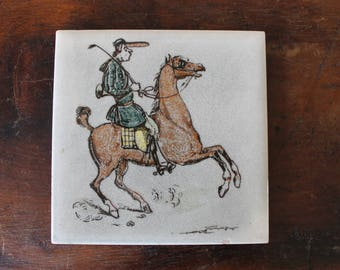 Vintage Trivet Tile, Hot Plate Tile, Jockey with Whip Riding a Horse