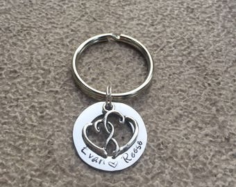 Stainless Steel Personalized Key Chain with Double Hearts Charm