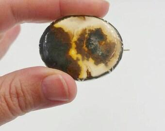 Victorian Moss Agate Brooch Pin