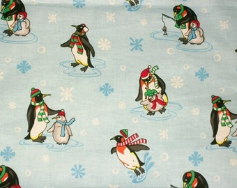 Penguin Fabric, Christmas Fabric, By The Yard, Winter Fabric, Apparel Sewing Fabric, Penguin Lake Collection Accent Fabric, Crafting Fabric,