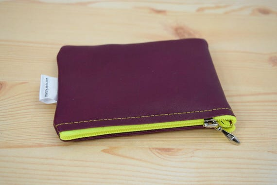 Leather coin purse,coin purse,red leather purse,dark red coin purse,leather wallet,zippered coin purse,zippered pouch,leather pouch,purple