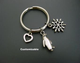 Penguin Keychain / Penguin Key Ring / Penguin Lover / Penguin Gift / Customizable Keychain / Personalized Keychain / Snowflake Keychain