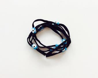 Black Suede Evil Eye Lucky Eye Beads String Wrap Bracelet Choker Necklace Anklet Hair Accessory