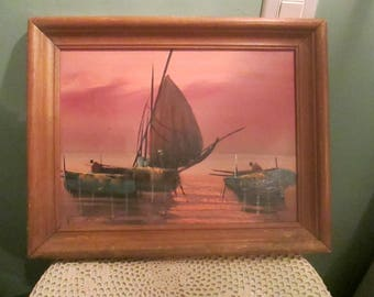 Mid Century Boat Oil Painting Small Beautiful Pastel Sunset Backdrop