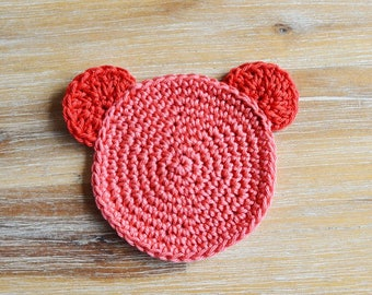 Red Crochet Teddy Coaster - 100% Red Cotton Teddy Bear Coaster Set of 2 - Made To Order