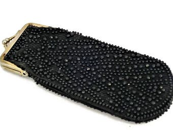 60s Glasses Case, Eye Glass Case, Beaded Case, 60s Sunglass Case, Black Faceted Beads, 1960s Eyeglass Case, Black Beaded Pouch,