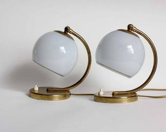 Pair of Art Deco Table /Wall Lamps. 1950s White Glass, Gold Metal Accent Lights/ Sconces