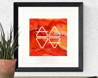 Original Watercolor Red Orange Stone Elemental Geometric Elements Glyph Space Stone Painting Galaxy Art OOAK