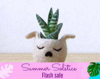 Summer 15% Off! Succulent planter / dog head planter / cactus vase / puppy planter / Cute dog lover gift / gift for her