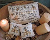 INSTANT DOWNLOAD Mind Your Own Beeswax PDF cross stitch patterns by Calico Confectionery at cottageneedle.com Easter Mother's Day
