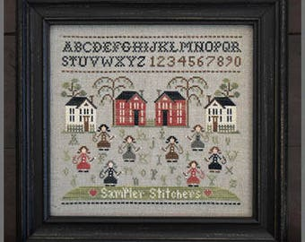 NEW Sampler Stitchers cross stitch pattern by Little House Needleworks at thecottageneedle.com alphabet friends