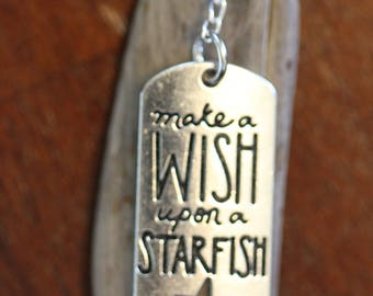 Make A Wish Upon a Starfish Necklace with Driftwood and Blue Sea Glass