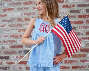 Red White Blue, Girl Top or Dress, Fourth of July, Americana, Seersucker, Summer Beach Love | baby, toddler, girl | Farrah Sleeveless