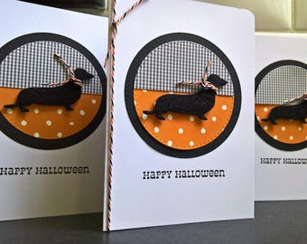 Dog Halloween Card, Dachshund Card, Doxie Happy Halloween Greeting Card, Weiner Dog Lover Gift, Sausage Dog