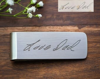 Custom Handwriting Fathers Day Gift, Grandpa Gift, Great Grandpa Gift, Real Handwriting Money Clip - Engraved Stainless Steel Money Clip
