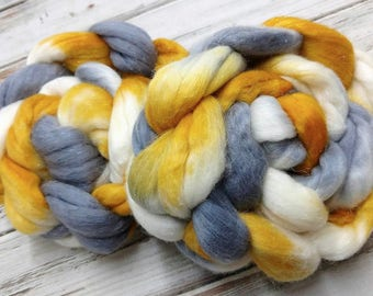 Rags to Riches 4oz Superfine Merino 18.5 micron Wool Firestar Shimmer Nylon Spinning Fiber Combed Top Roving Felting