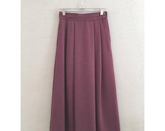 Purple Pleated Wool Skirt