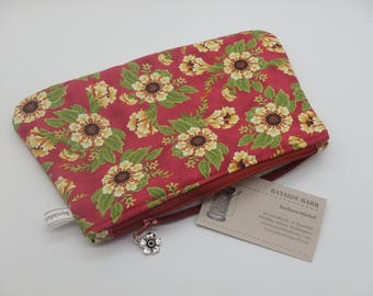 Wood Rose Makeup Bag, Floral Travel Bag, Cosmetics Clutch, Flowered Zip Pouch, Wet Sack, Ditty Bag, Makeup Pouch, Teacher Gifts for Her