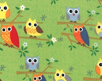 30502-16 Lime Owls, Ten Little Things by Jenn Ski for Moda
