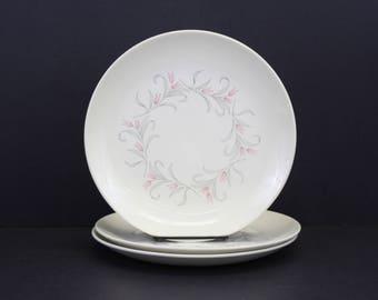 Vintage Homer Laughlin MCM Pink Tulip Dinner Plates, Set of 3 (E1992)