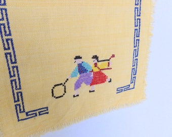 Chinoiserie Cross Stitch Doily Place Mat Table Runner Hand Towel with Fringe