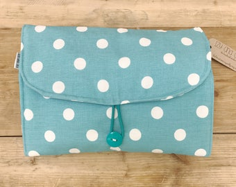 Diaper Changing Pad - Diapering on the Go - Blue with Small Dots and Blue with White Circles