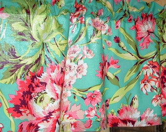 """TEAL FLORAL 1 Valance or Panel Cotton Print  curtain 14"""" 18"""" 24"""" 32"""" Long choose lined or unlined"""