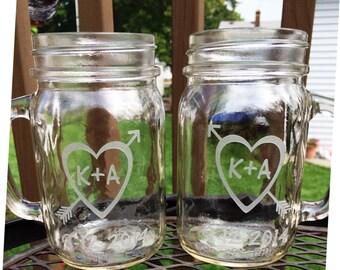 Personalized Mason Jar Glasses 2 Mugs  Initials Inside Heart  Wedding Reception Shower Gift Glasses Bride Groom
