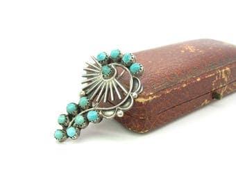 Turquoise Swirl Brooch. Navajo Sterling Silver Sun Rays. Hand Shaped Zuni Style Gemstones. Vintage Handmade Native American 1970s Jewelry