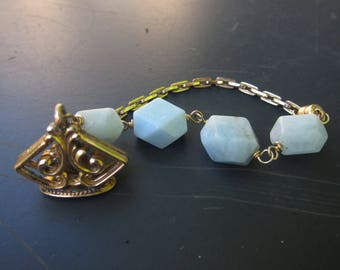 Chunky Aquamarine Gems and Gold Filled Watch Chain with Ornate Fob Bracelet, Two Girls Gems