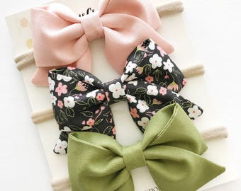 Bow Headband - Baby Bow Headbands - Sailor Bows - Pink Baby Bow - Nylon Headbands - Olive Baby Headband - Fall Bows - Hair Bow Clip - Baby