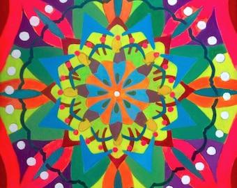 Wholeness Mandala. Prayers for Venezuela. Acrylic on Wood. 8 x 8 x 1.5 inches