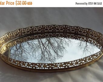 CHRISTMAS in JULY SALE Vanity Mirror Tray Oval Decorative Mirror Platter