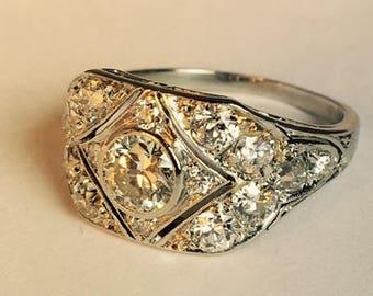 Art Deco Platinum Wide Engagement Ring 1.40 ctw.