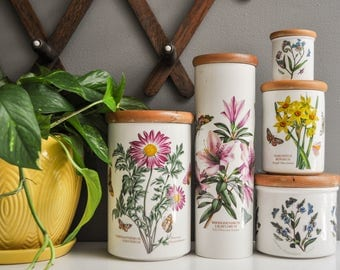 Vintage Set of Botanical Portmeirion Canisters or Storage Containers - Made in Britain