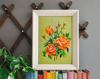 Vintage Chartreuse Green Framed Rose Paint by Number