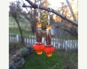 Mid Week Sale ---- Orange Sea Glass Earrings