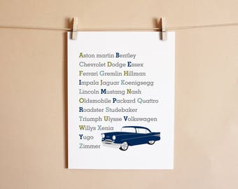 Classic Car Alphabet Art Print, Nursery Decor, Nursery Kids Wall Art Room Decor