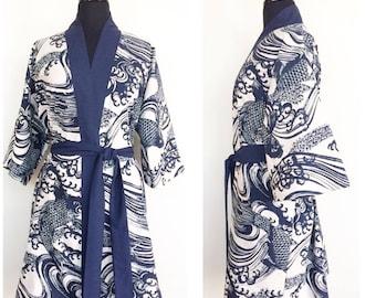 100% Luxury Cotton Kimono In Off White With Navy Blue Koi Fish Print - Limited Edition