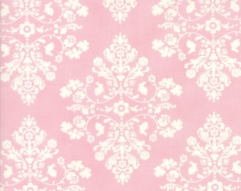 Lily & Will Revisited, Pink Cottontail Toile Damask, 2802-41, by Bunny Hill of Moda, Pink and White Damask Baby Fabric