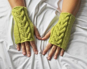 Womens Fingerless Gloves - Lime Green Gloves - Wrist Warmers - Cotton Gloves - Ready to ship