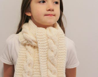 Girls Scarf  - Children's knitted scarf -   Cream Scarf - Hand knitted scarf -  4-8  years - ready to ship
