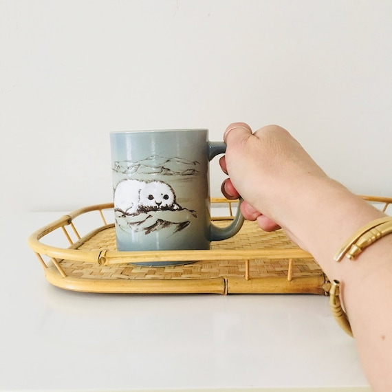 Vintage White Seal Mug Blue Gray Brown Coffee Mug Earthy Colored Cup Polar Landscape Mug